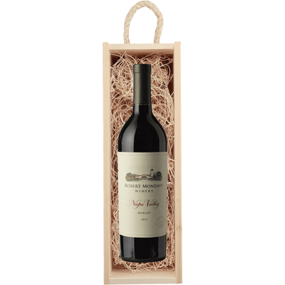 Wood Box Gift Set With Name Brand Wine