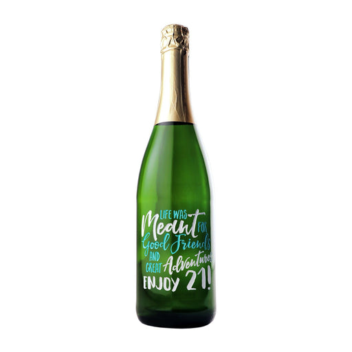 """""""Life was meant for good friends and great adventures. Enjoy 21! Personalized Champagne 21st Birthday gift by Etching Expressions"""