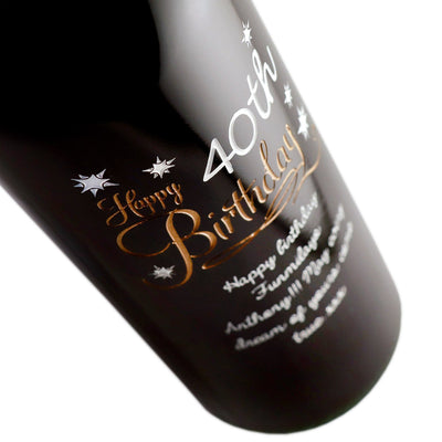 Happy 40th Birthday with stars personalized etched red wine bottle birthday gift by Etching Expressions