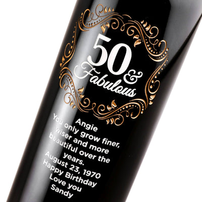 50 & Fabulous with Gold Pedigree Personalized Wine Bottle Fiftieth Birthday Gift by Etching Expressions