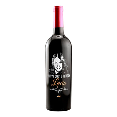 personalized etched photo on wine bottle for 50th birthday gift by Etching Expressions