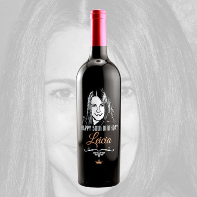 Upload Your Own Picture Happy Birthday personalized wine bottle by Etching Expressions