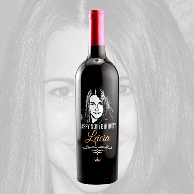 custom etched photo on wine bottle for 50th birthday gift by Etching Expressions