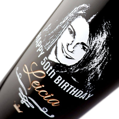 closeup of personalized photo etching on wine bottle by Etching Expressions