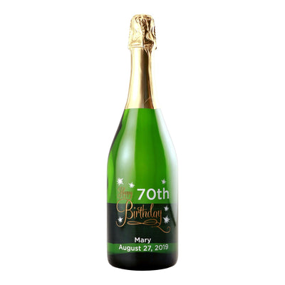 Happy 70th Birthday custom etched champagne bottle by Etching Expressions