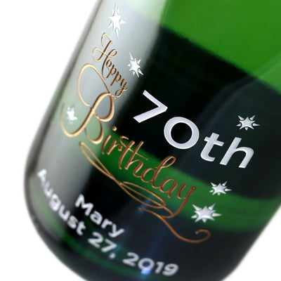 Happy 70th Birthday custom engraved champagne birthday gift by Etching Expressions