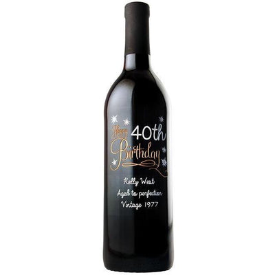 Happy 40th Birthday with stars personalized engraved wine bottle birthday gift by Etching Expressions