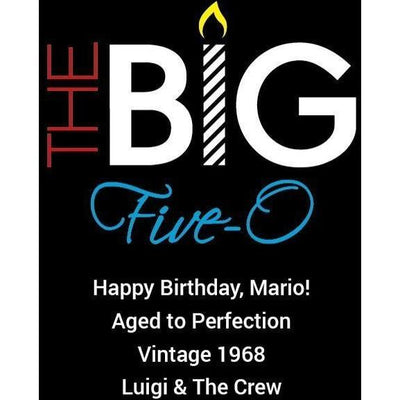 Personalized Red Wine Bottle 50th Birthday Gifts - The Big Five O