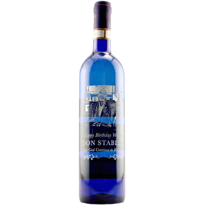 Personalized blue wine bottle with photo birthday anniversary gift