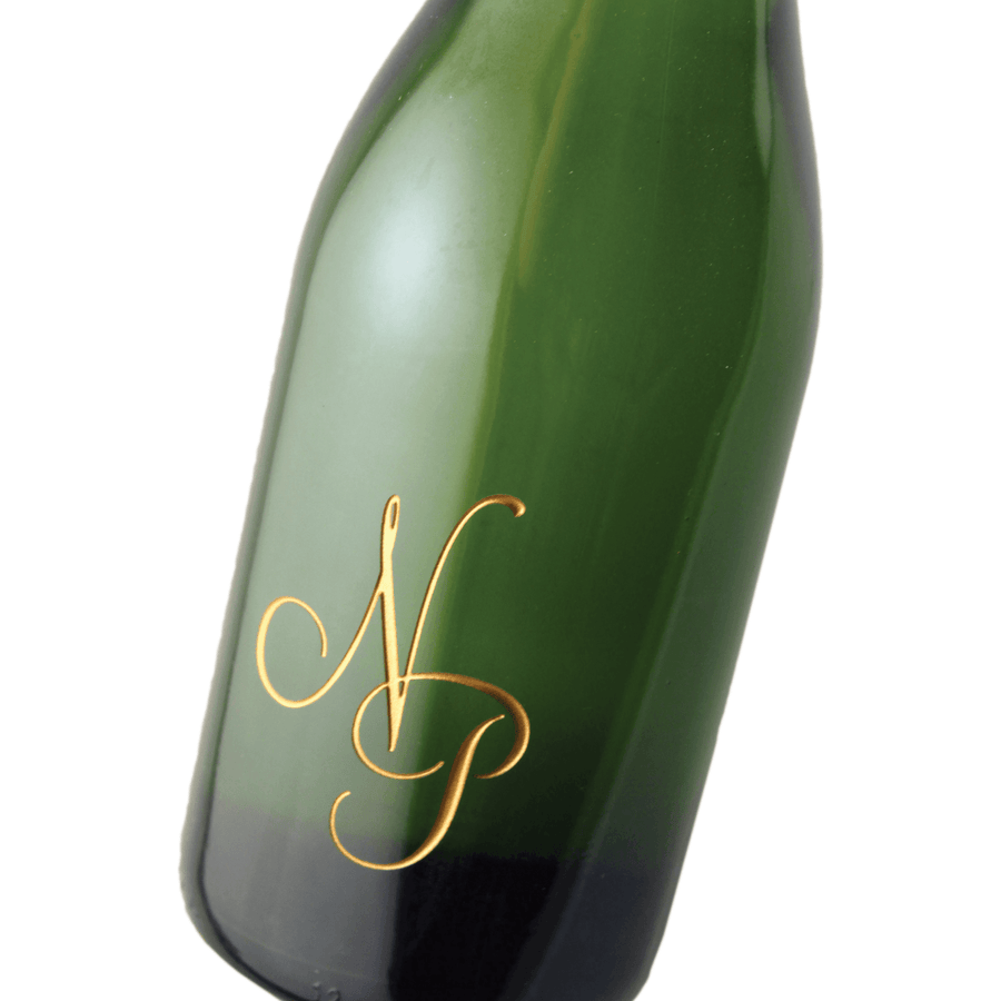 monogram etched champagne bottle by Etching Expressions