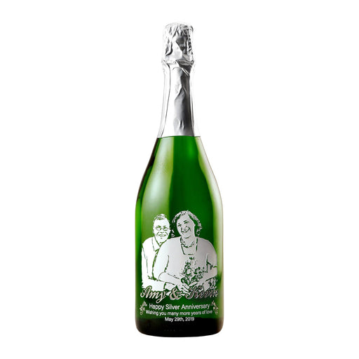 etched champagne wine bottle gift personalized engraved bottle