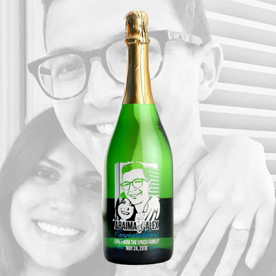 Custom photo engraved on Champagne bottle by Etching Expressions