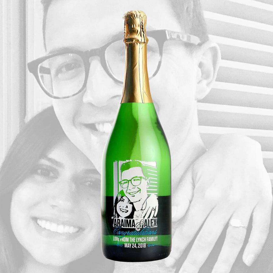Custom photos etched on Champagne by Etching Expressions