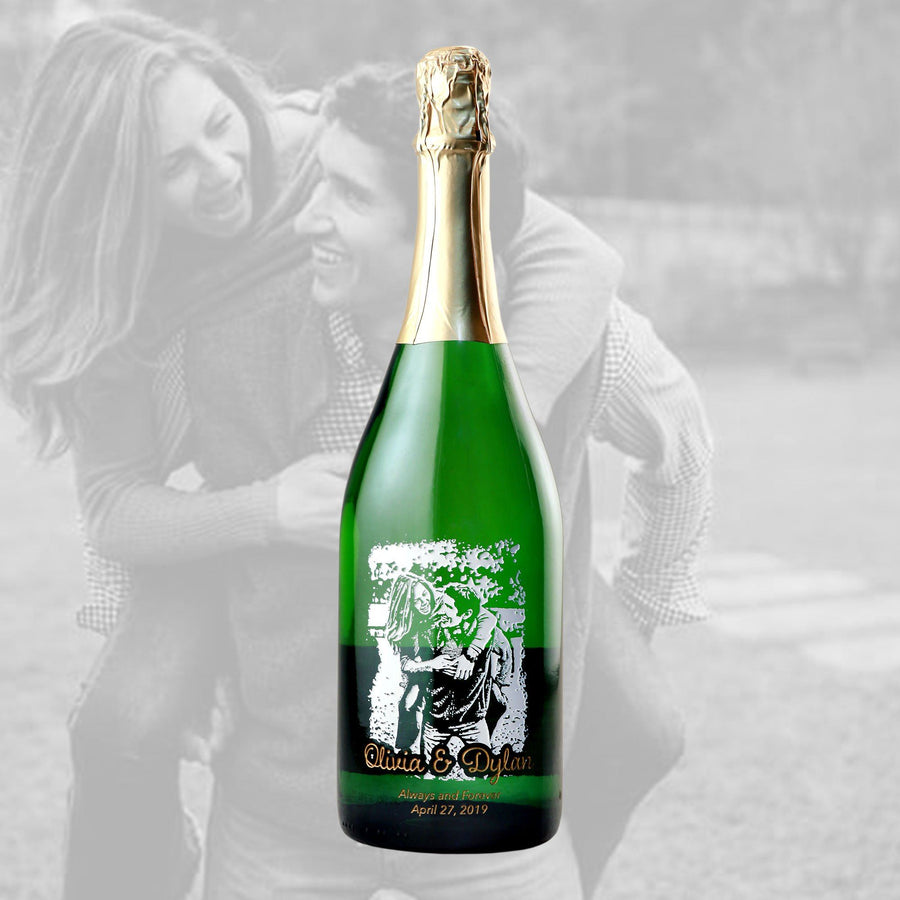 Photo engraved on Champagne wedding gift by Etching Expressions