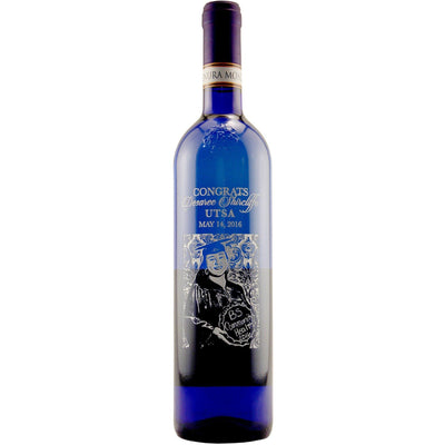 etched blue wine bottle with custom photo by Etching Expressions