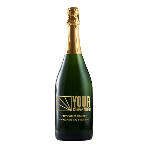 Custom champagne bottle with engraved company logo by Etching Expressions