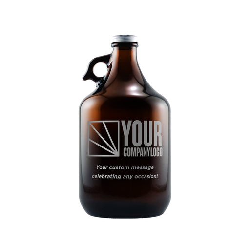 Custom beer growler with engraved company logo by Etching Expressions
