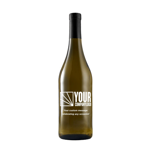 Custom white wine bottle with engraved company logo by Etching Expressions