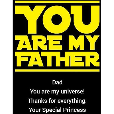You Are My Father custom blue bottle etched design