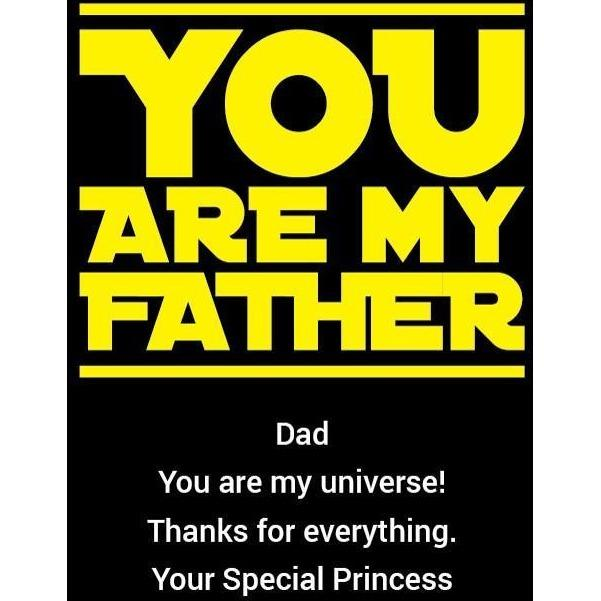You are My Father custom engraved olive oil bottle Father's Day gift for scifi lover by Etching Expressions