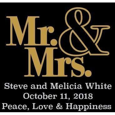 Personalied Mini White Wine Wedding Favors - Mr. and Mrs. Modern Mini