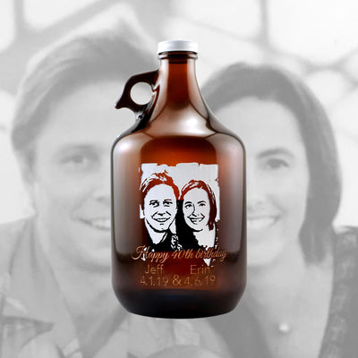 Custom Beer Growler Photo Upload personalized birthday gift by Etching Expressions