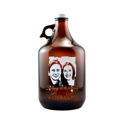 Custom Beer Growler with Your Picture personalized birthday gift by Etching Expressions