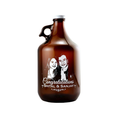 Custom etched beer growler photo upload personalized birthday gift by Etching Expressions