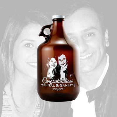 Custom etched beer growler with your photo upload gift for beer drinkers by Etching Expressions