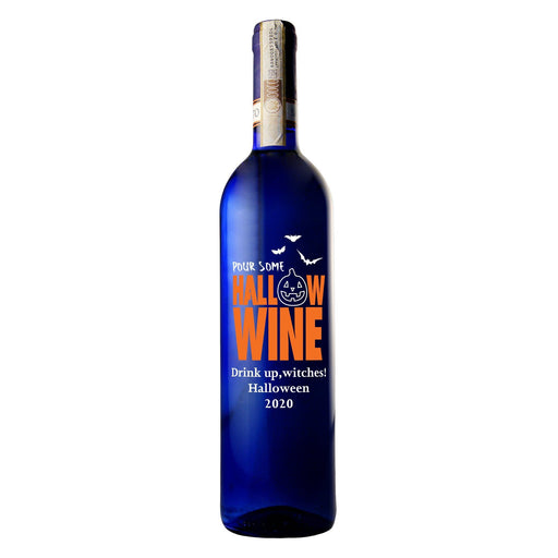 Pour some Hallow-wine custom etched blue wine bottle Halloween gift by Etching Expressions