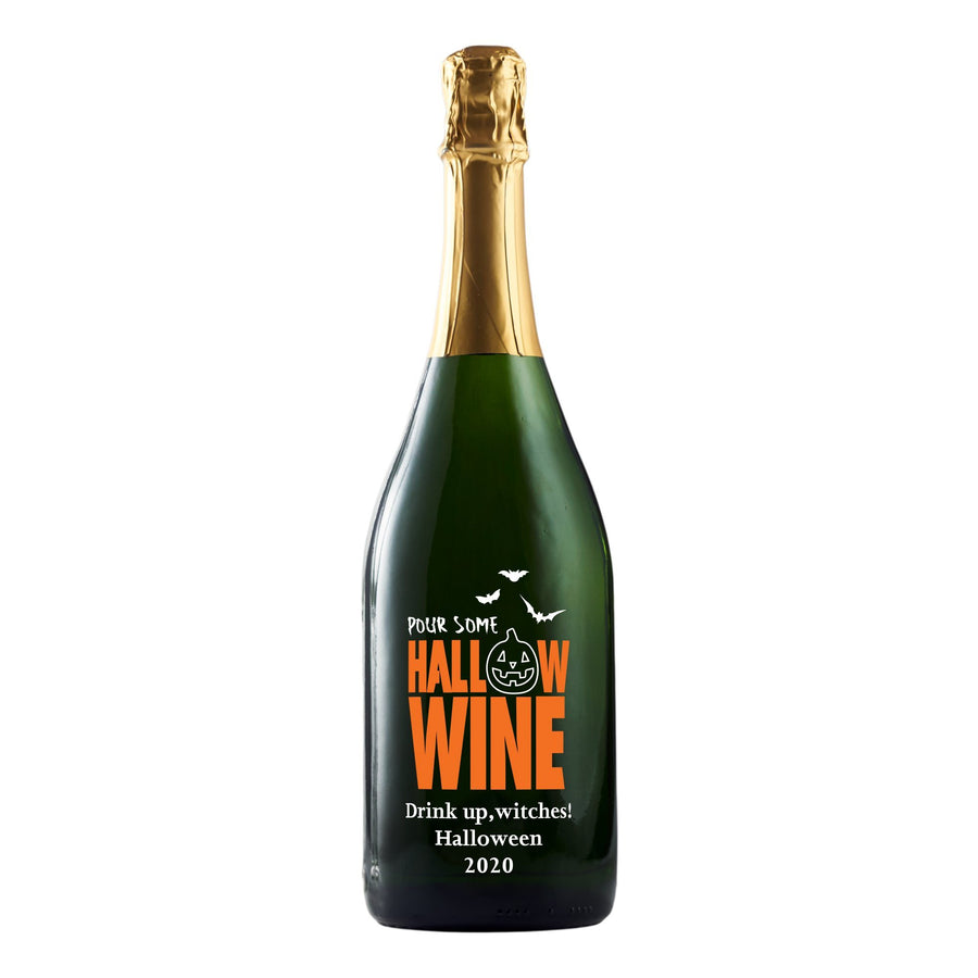 Pour some Hallow-wine custom etched champagne bottle Halloween gift by Etching Expressions