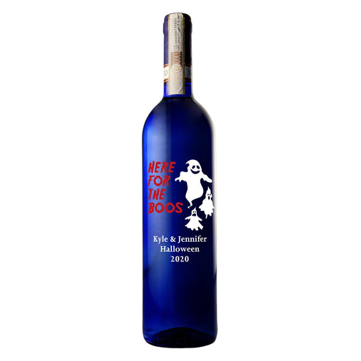 Here for the Boos custom etched blue wine bottle Halloween gift by Etching Expressions