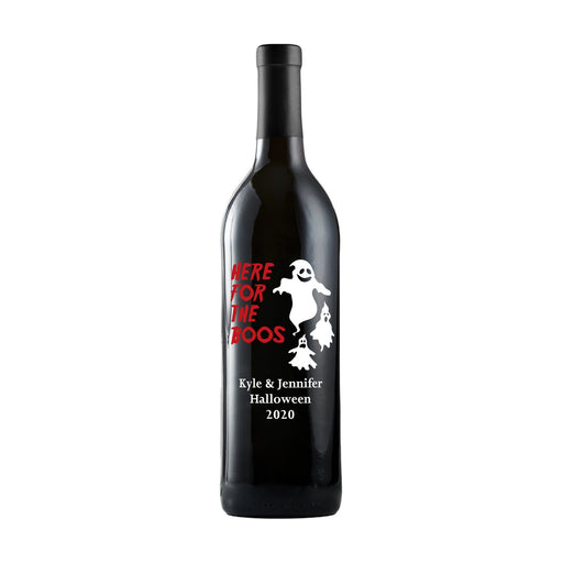 Here for the Boos custom etched red wine bottle Halloween gift by Etching Expressions