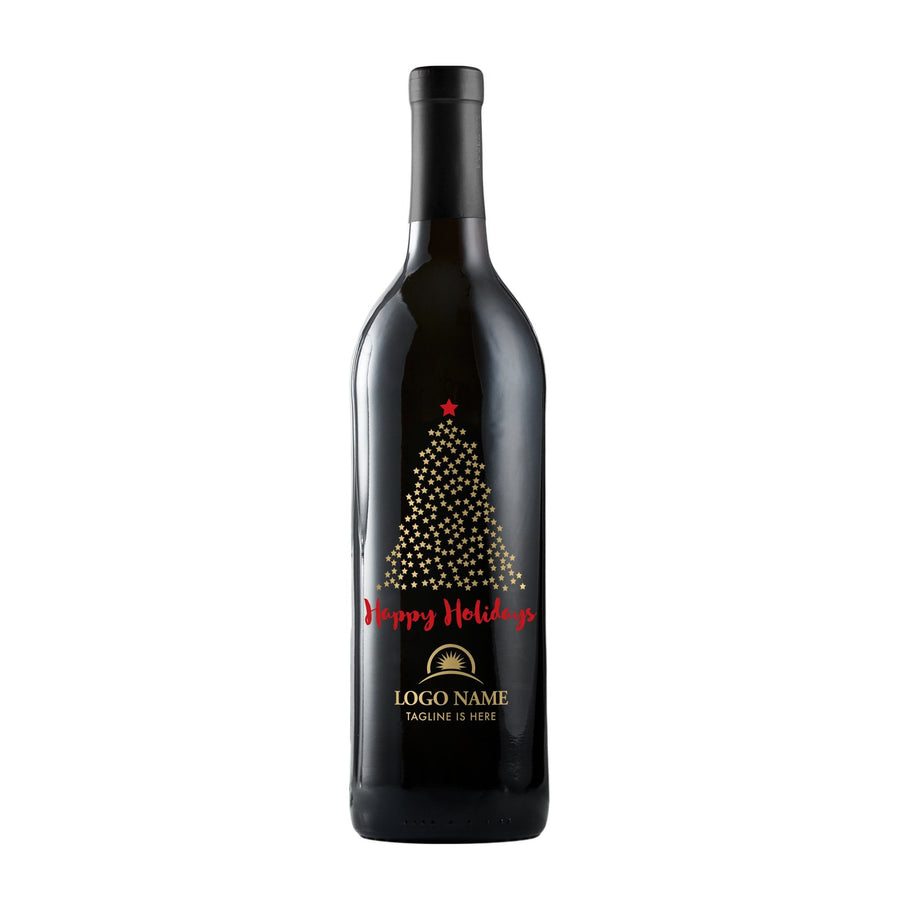 Happy Holidays starry Christmas tree corporate wine gift by Etching Expressions