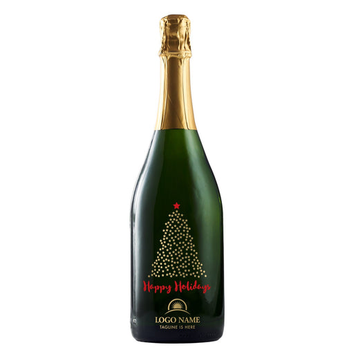 Happy Holidays starry Christmas tree corporate champagne gift by Etching Expressions