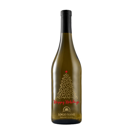 Happy Holidays starry Christmas tree corporate white wine gift by Etching Expressions