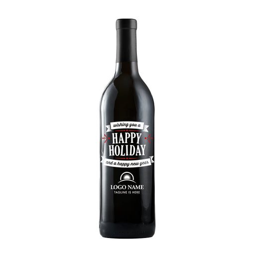 Wishing You a Happy Holiday with company logo wine gift by Etching Expressions