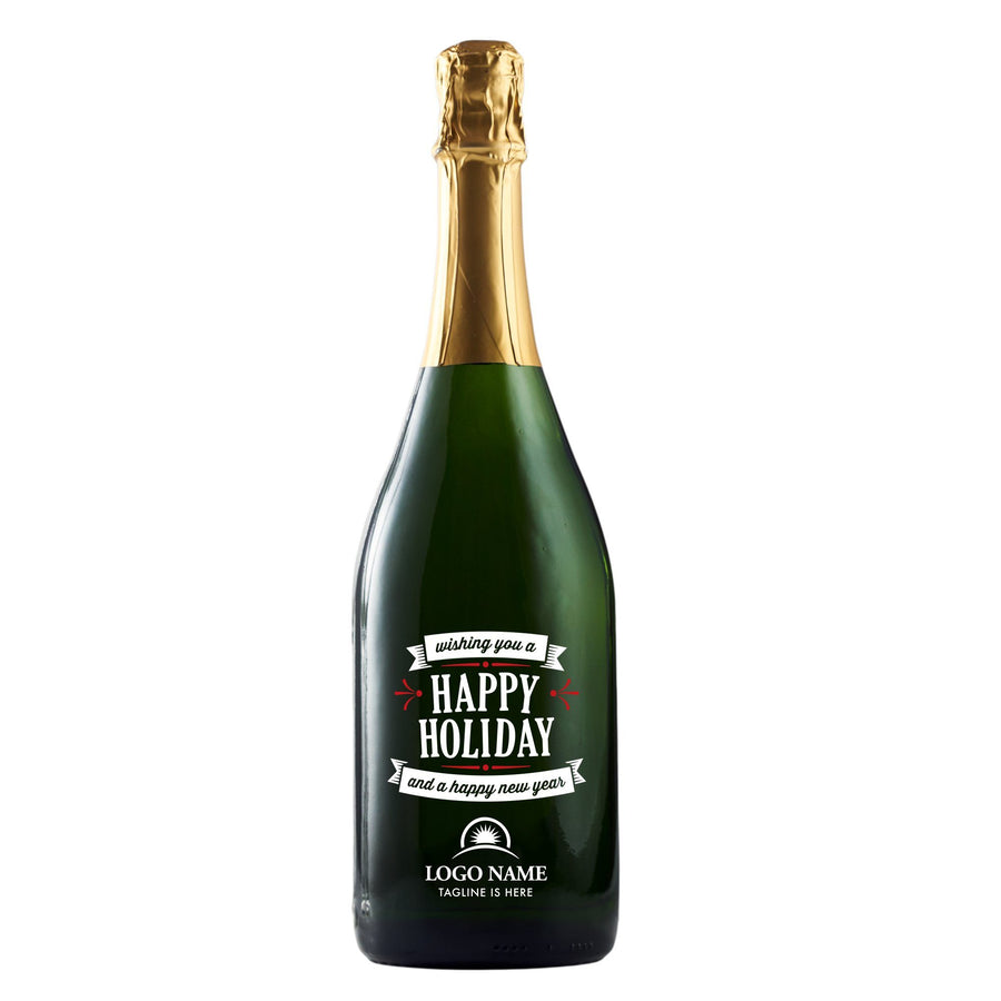 Wishing You a Happy Holiday with company logo champagne gift by Etching Expressions