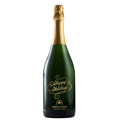 Happy Holidays in script on champagne bottle company holiday gift by Etching Expressions