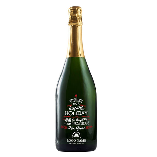 Wishing You a Happy Holiday and Prosperous New Year company logo champagne company gift by Etching Expressions