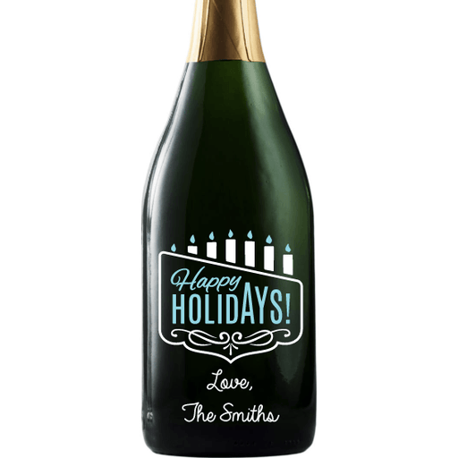 Happy Holidays Menorah personalized champagne bottle Hanukkah gift by Etching Expressions