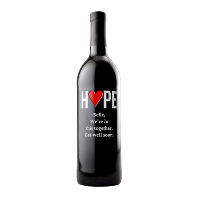 Custom etched red wine - Hope Heart