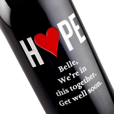 Custom etched red wine - Hope Heart design detail