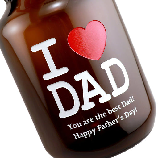 I Love Dad with heart custom engraved beer growler Father's Day gift detailed closeup by Etching Expressions