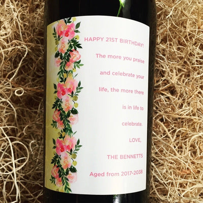 Custom Labeled Red Wine - Floral Roses Label personalized gift