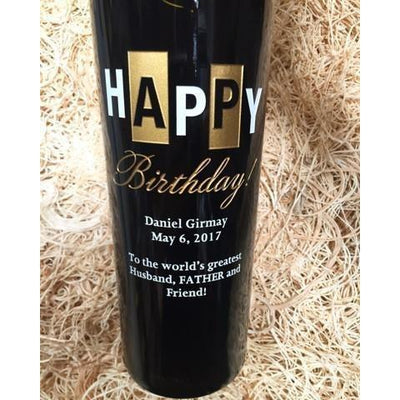Personalized Etched Red Wine Bottle Gifts - Happy Birthday Chevrons Label