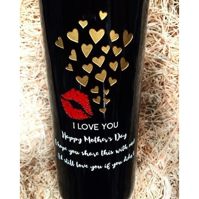 Personalized Etched White Wine Bottle Gifts - I Love You