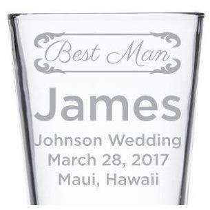 Best Man custom wedding party gift pint glass by Etching Expressions