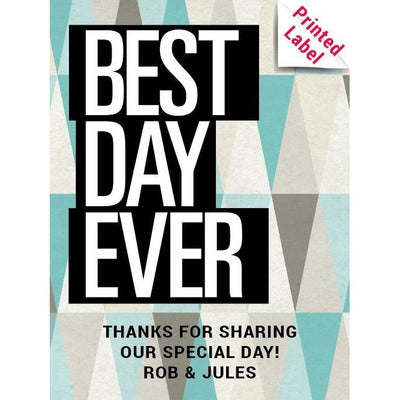 Best Day Ever with geometric background custom blue wine bottle label wedding favor by Etching Expressions
