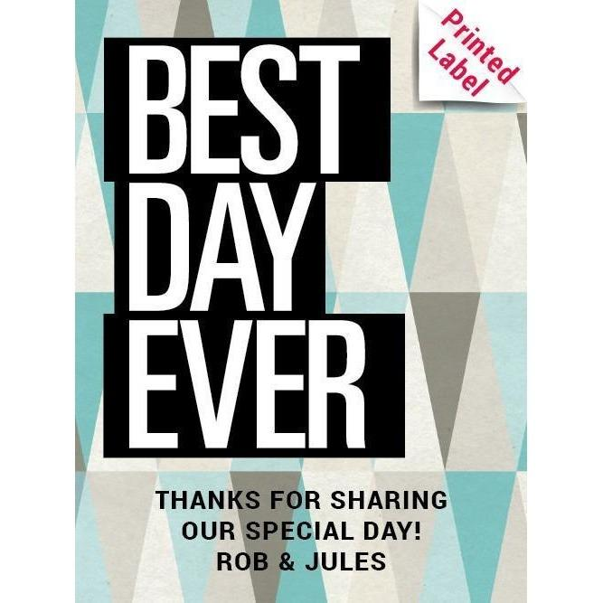 Best Day Ever with geometric background custom beer label wedding favor by Etching Expressions